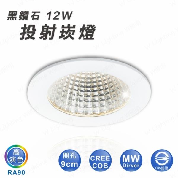 LED 12W 黑鑽石崁燈 1